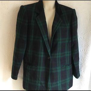 SAG HARBOR Green & Blue Plaid Wool-Blend Jacket 16